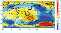 Возмущение поля атмосферного давления на у.м.и векторов скорости геострофического ветра при Глобальной атмосферной осцилляции (10 событий Эль- Ниньо и 5 событий Ла-Нинья в 1950-2010 гг.)