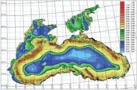 Результаты численных расчетов поверхностных течений (м/с) по объединенной модели Черного и Азовского морей (05.00 GMT, 05.03.2013 г)