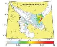 Число радиолокационных снимков с поверхностными проявлениями пакетов короткопериодных внутренних волн по отношению к общему числу снимков в Белом море