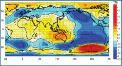 Возмущение поля атмосферного давления на у.м.ивекторов скорости геострофического ветра приГлобальной атмосферной осцилляции (10 событий Эль-Ниньо и 5 событий Ла-Нинья в 1950-2010 гг.)