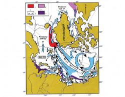 Перенос ледового и айсбергового материалапо поверхности морей и океана в Арктике