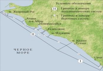 Схема участков проведения исследований на Черноморском побережье